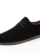Men's Shoes Real Leather Fall Winter Driving Shoes Oxfords Lace-up For Casual Party & Evening Khaki Gray Black