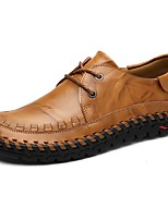 Men's Shoes PU Spring Fall Comfort Flats Lace-up For Casual Brown Black