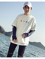 Men's Casual/Daily Sweatshirt Color Block Letter Round Neck Micro-elastic Cotton Polyester Long Sleeve Fall