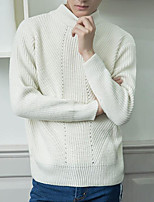 Men's Casual/Daily Regular Pullover,Solid Turtleneck Long Sleeves Others Spring Winter Medium Micro-elastic