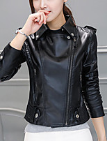 Women's Going out Club Vintage Chinoiserie Fall Winter Leather Jacket,Solid Notch Lapel Long Sleeve Regular PU Cotton