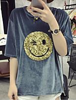 Damen Druck Einfach Niedlich Ausgehen Lässig/Alltäglich T-shirt,Rundhalsausschnitt Sommer Herbst Halbe Ärmel Acryl Polyester Mittel