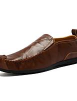 Для мужчин обувь Натуральная кожа Весна Осень Обувь для дайвинга Мокасины и Свитер С шипами Назначение Повседневные Черный Темно-русый