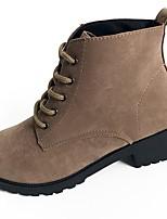 Femme Chaussures Polyuréthane Automne Confort boîtes de Combat Bottes Gros Talon Block Heel Bout rond Bottes Mi-mollet Lacet Pour