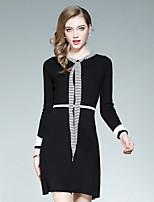 Fodero Vestito Da donna-Per uscire Casual Moda città A strisce Rotonda Al ginocchio Manica lunga Poliestere Elastene Autunno A vita alta