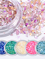 6pcs Natural Shell Gravel Glitter Sequins Color Nail Patch Accessories