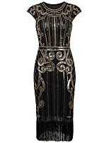 Shall We Latin Dance Dresses Women's Performance Polyester Sequined Tassel(s) Paillette 1 Piece Sleeveless High Dress