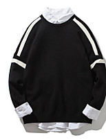 Men's Plus Size Casual/Daily Regular Pullover,Color Block Round Neck Long Sleeves Others Spring Winter Medium Micro-elastic
