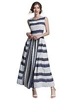 Linea A Fodero Chiffon Vestito Da donna-Per uscire Casual Semplice Moda città A strisce Rotonda Maxi Senza maniche Cotone Estate Autunno