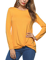Women's Going out Casual/Daily Simple Street chic Spring Fall T-shirt,Solid Round Neck Long Sleeves Polyester Medium