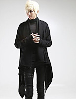 Men's Casual/Daily Long Cardigan,Solid V Neck Long Sleeves Cotton Fall Medium Micro-elastic