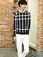 Standard Pullover Da uomo-Casual Con stampe Rotonda Manica lunga Cotone Autunno Medio spessore Media elasticità
