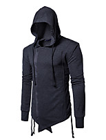 Men's Casual/Daily Street chic Hoodie Solid Hooded Micro-elastic Polyester Long Sleeve Fall Winter