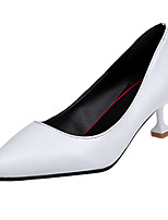 Women's Shoes PU Spring Summer Comfort Heels Low Heel Round Toe Hook & Loop For Casual Beige Black White