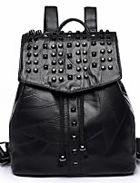 Women Bags All Seasons PU Backpack Beading for Casual Traveling Black