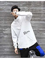 Men's Going out Sweatshirt Solid Round Neck Micro-elastic Cotton Long Sleeve Spring