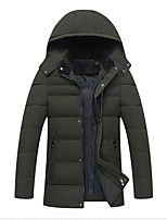 Men's Regular Padded Coat,Simple Casual/Daily Solid-Cotton Polyester Long Sleeves