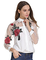 Women's Casual/Daily Work Simple Street chic Sophisticated Fall Winter Shirt,Floral Embroidery Shirt Collar Long Sleeves Cotton Polyester