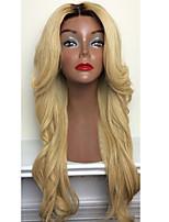 Donna Parrucche di capelli umani con retina Brasiliano Cappelli veri Lace frontale 130% Densità Taglio scalato Con ciuffetti Ondulati
