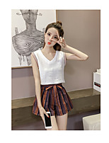 Women's Going out Casual/Daily Simple Summer Tank Top Pant Suits,Solid Round Neck Sleeveless