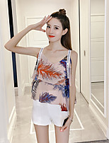 Women's Going out Simple Tank Top,Floral Strap Sleeveless Polyester