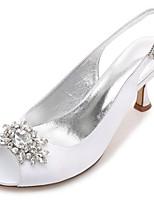 Damen Schuhe Satin Frühling Sommer Komfort Pumps Hochzeit Schuhe Niedriger Absatz Kitten Heel-Absatz Stöckelabsatz Konischer Absatz Peep