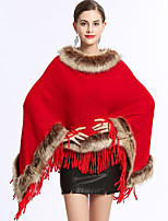 Women's Wrap Ponchos Faux Fur Wedding Party/ Evening Tassel