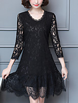 Women's Plus Size Going out Street chic Lace Dress,Solid Round Neck Above Knee 3/4 Length Sleeves Polyester Fall Mid Rise Inelastic Medium
