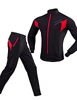 Cycling Jacket with Pants Unisex Long Sleeves Bike Clothing Suits Windproof Rain-Proof Breathability 100% Polyester Solid Winter