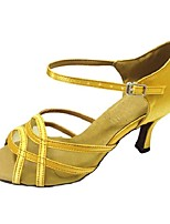 Women's Latin Satin Sandal Heel Professional Buckle Customized Heel Yellow 1