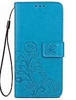 Недорогие -Кейс для Назначение Motorola Бумажник для карт Кошелек со стендом Флип Рельефный Чехол Сплошной цвет Цветы Твердый Кожа PU для Мото G5