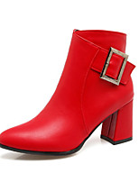 Women's Shoes PU Fall Winter Comfort Novelty Fashion Boots Bootie Boots Chunky Heel Pointed Toe Booties/Ankle Boots Buckle Zipper For