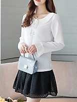Women's Going out Casual/Daily Vintage Simple Winter Shirt,Solid Round Neck Long Sleeves Silk Cotton