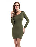 Damen Bodycon Kleid-Festtage Lässig/Alltäglich Solide Rundhalsausschnitt Mini Langarm Polyester Herbst Winter Hohe Hüfthöhe