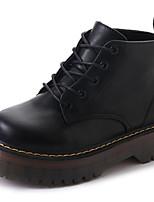 Femme Chaussures Gomme Automne boîtes de Combat Bottes Gros Talon Bout rond Lacet Pour Noir Gris Brun Foncé