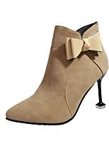 Femme Chaussures Similicuir Automne Hiver Confort Bottes Talon Aiguille Bottine/Demi Botte Noeud Pour Décontracté Noir Beige