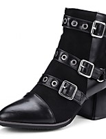 Women's Shoes Leatherette Fall Winter Fashion Boots Boots Chunky Heel Round Toe Booties/Ankle Boots Buckle For Casual Office & Career