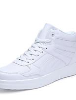 Для мужчин обувь Тюль Полиуретан Весна Осень Удобная обувь Кеды Шнуровка Назначение Повседневные Белый Розовый и белый Черно-белый