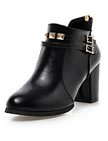 Women's Shoes PU Fall Winter Comfort Novelty Fashion Boots Bootie Boots Chunky Heel Pointed Toe Booties/Ankle Boots Rivet Zipper For