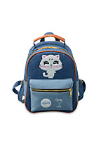 Women Bags All Seasons Cotton Backpack Appliques Zipper for Casual Outdoor Blue