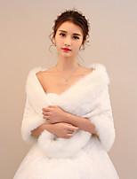 Women's Wrap Shawls Rabbit Fur Faux Fur Wedding Party/ Evening Pattern / Print