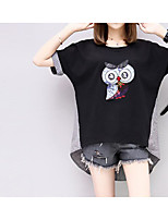 Women's Going out Casual/Daily Cute Summer T-shirt,Embroidery Round Neck Short Sleeves Cotton Polyester Medium