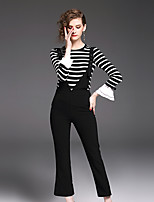 YIYEXINXIANG Women's Casual/Daily Work Simple Fall T-shirt Pant Suits,Striped Round Neck Long Sleeve