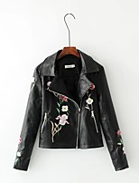 Women's Going out Casual/Daily Simple Street chic Fall Winter Leather Jacket,Print Shirt Collar Long Sleeve Regular Others Embroidered
