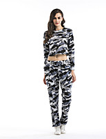 Women's Sports Casual/Daily Street chic Fall Hoodie Pant Suits,Print Round Neck Long Sleeve