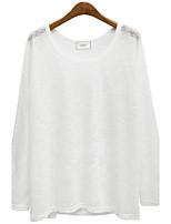 T-shirt Da donna Per eventi Casual Autunno Inverno,Tinta unita Rotonda Cotone Manica a 3/4