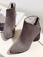 Women's Shoes Cowhide Fall Winter Combat Boots Boots Chunky Heel Booties/Ankle Boots For Casual Black Khaki