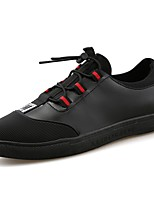 Men's Shoes Leather Spring Fall Light Soles Sneakers Lace-up For Casual Black/Red Black/White
