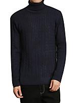 Men's Casual/Daily Simple Regular Pullover,Solid Turtleneck Long Sleeves Spandex Spring Fall Medium Micro-elastic