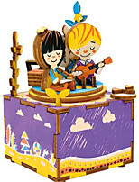 DIY KIT Music Box Toys Horse Carousel Cartoon Wooden Wood 1 Pieces Not Specified Birthday Valentine's Day Gift